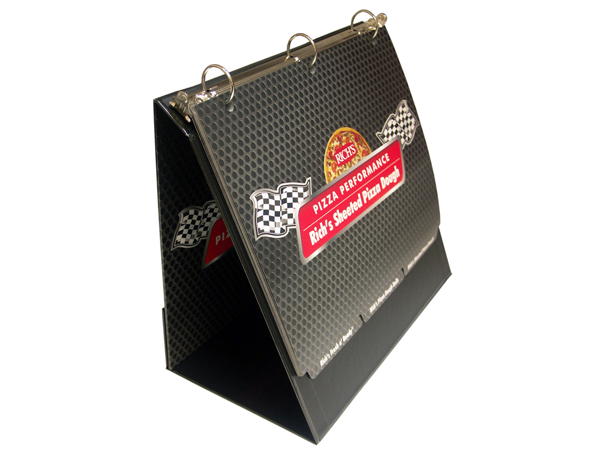 Tent easel turned-edge binder with scuff-free laminated pages